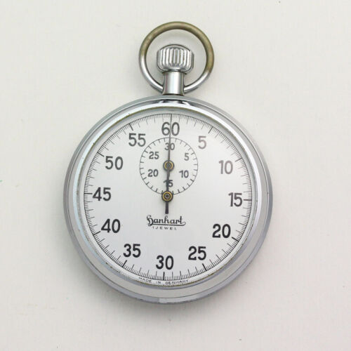Vintage Hanhart 55mm Chrome 30 Minute Register 1 Jewel Stopwatch