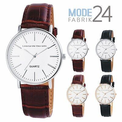 Herren Design Leder (HERRENUHR LEONARDO VERRELLI Kroko Design Leder Silber Rose Gold 4 cm Uhr Elegant)