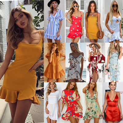 Women's Boho Floral Chiffon Summer Party Evening Beach Short Mini Dress Sundress