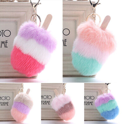 Creative Fluffy Faux Fur Ice Cream Pompom HandBag Pendant Car Key Chain Gift (Fur Ice)