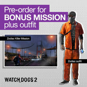 UNUSED ZODIAC KILLER DLC FOR WATCHDOGS 2 PS4 UP 4 SALE OR TRADE Cambridge Kitchener Area image 1