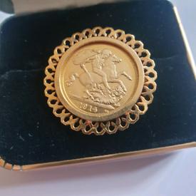 Solid 9CT Full Sovereign pendant/Brooch