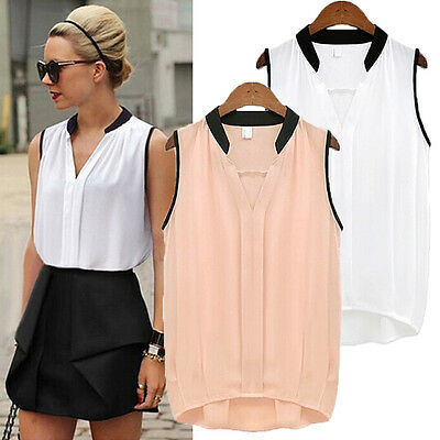 Women Ladies Summer Casual Sleeveless Chiffon Tee Vest T Shirt Blouse Loose Tops