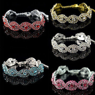 Fashion Stunning Austrian Crystal Bracelet Women Braided Rhinestone Chain Bangle