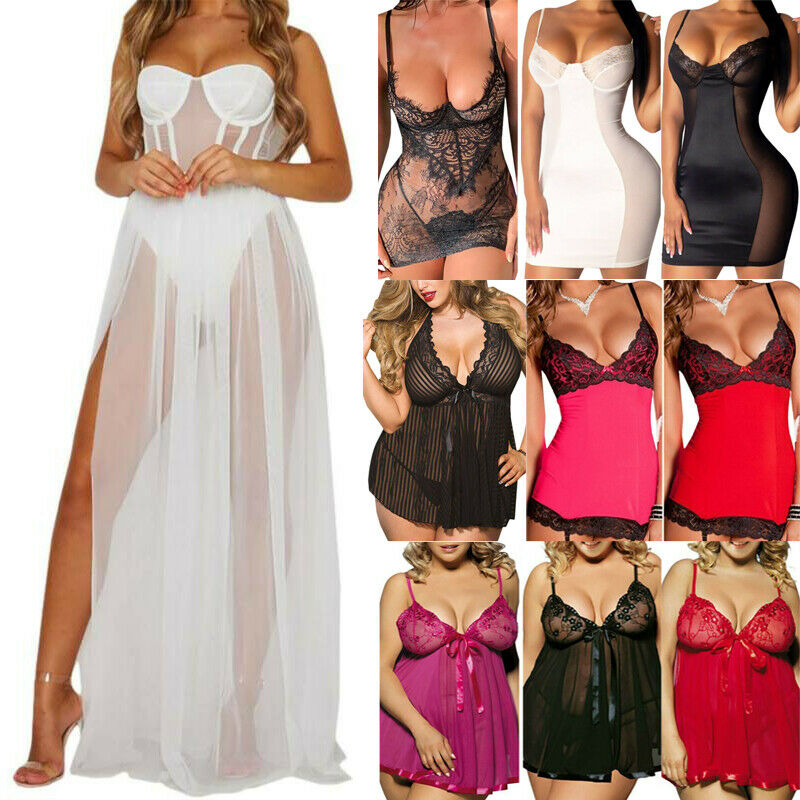 Women Sexy Lace Lingerie Babydoll Sleepwear Bodycon Nightdress Nightgown Dress Clothing, Shoes & Accessories