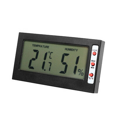 Black Digital Lcd Thermometer Hygrometer Max Min Memory Celsius Fahrenheit Us