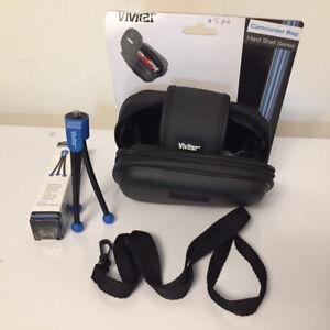 Vivitar hard case and mini tripod for camera/camcorder