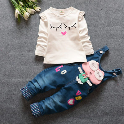 Clothing For Girl (Baby Girls Cartoon Outfits Toddler Clothing Sets For Kids Girls Tops+Bib)