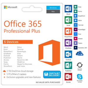 Genuine 2016 Microsoft Office 365 , One-time Fee, 5 Devices ,5TB