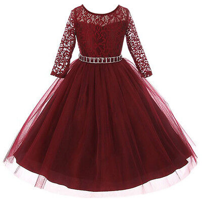 Flower Girl Dresses Tulle Skirt (Burgundy Long Sleeve Stretch Lace Bodice Flare Tulle Skirt Flower Girl Dresses)