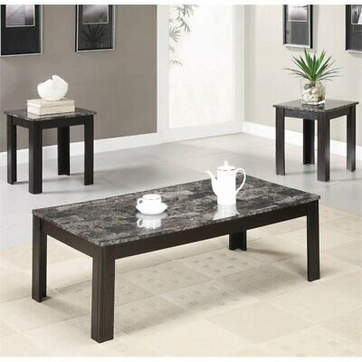 Stonecroft Furniture 3 Piece Faux Marble Top Coffee Table Set in Black