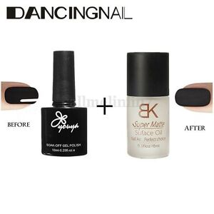 2pcs vernis ongle noir gel semi permanent mat top coat oil polish nail art ebay. Black Bedroom Furniture Sets. Home Design Ideas
