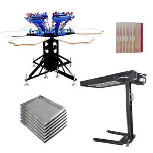 6 Color Screen Printing Press Printer with Flash Dryer Screen Squeegee 006988