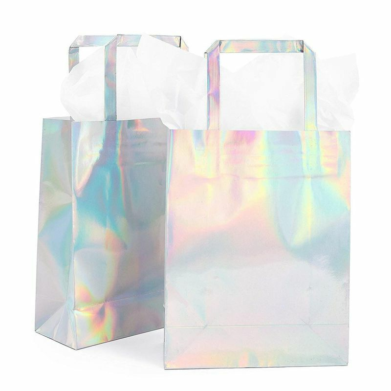 20x Holographic Foil Paper Gift Bags with Handles Tissue Papers 7 x 9 x 3 in