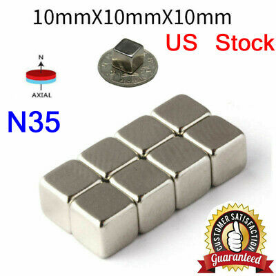 5-200pcs Neodymium N35 Block Square Cube Magnets Strong 10x10x10mm Rare-earth Us