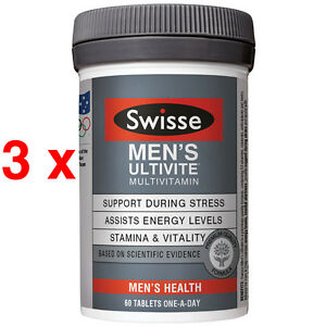 BEST PRICE! BULK BUY 3 x Swisse Men's Ultivite 60 Tablets ONE-A-DAY(Promotion)