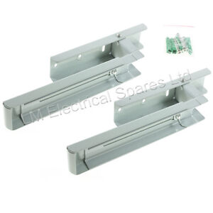 2 Universal Silver Microwave Wall Mounting Holder Brackets With Extendable Arms