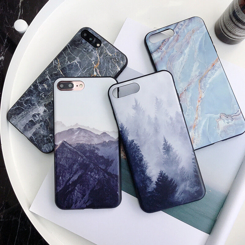 For iPhone XS Max XR X 8 7 6s + Retro Granite Marble Pattern Soft TPU Case Cover