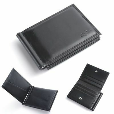 Black Money Clip - Men Bifold Genuine Leather Slim Wallet Money Clip ID Credit Card Holder, Black