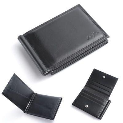 Men Bifold Genuine Leather Slim Wallet Money Clip ID Credit