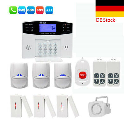 GSM Wireless LCD Home Burglar Alarm System SOS Motion Door Wi Sensor Security DE Gsm Home Security System