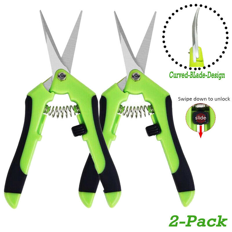 2Pcs Curved Blade Plant Trimming Scissors Floral Pruning Shears Gardening Tool