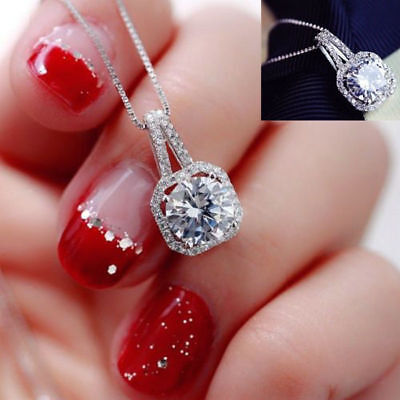 Damen Halskette Zirkonia Party Klar Kette Anhänger Silber 40cm +5cm elegant  #64