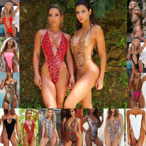 Tanga Bikini Push up Bademode Damen High Cut Badeanzug ein Stück Schwimmanzug