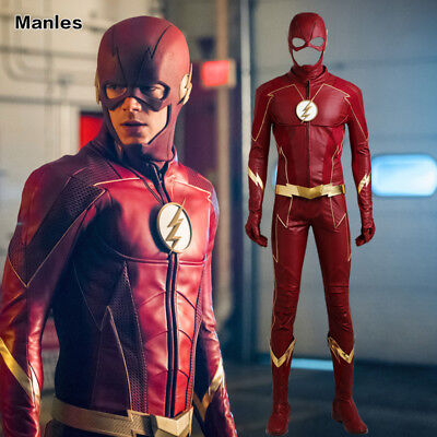 The Flash 4 Costume Barry Allen Cosplay Leather Outfits Christmas Fancy Dress  (Flash Costume Men)