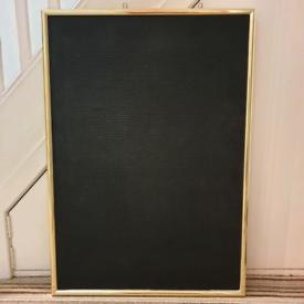 Pinboard Noticeboard Polished Gold & Black 66x94cm