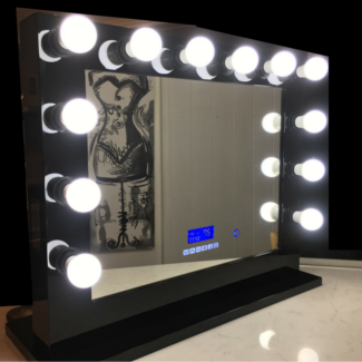 Black Hollywood Mirror W Bluetooth Speakers, Dimmer, USB, Power P