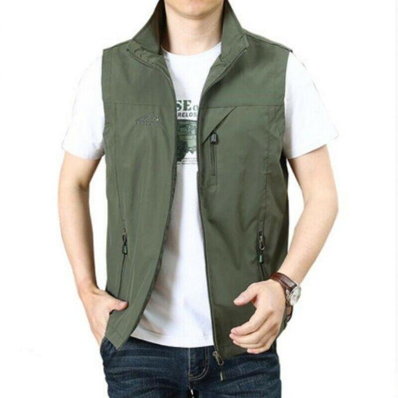 Men Waistcoat Jacket Summer Youth Leisure Sleeveless Outdoor Sport Coats Vest Sz
