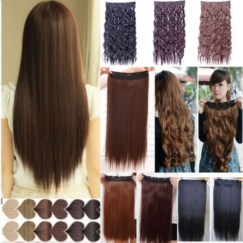 lady 3/4 full head Clip In Hair Extensions straight curly brown clips long new