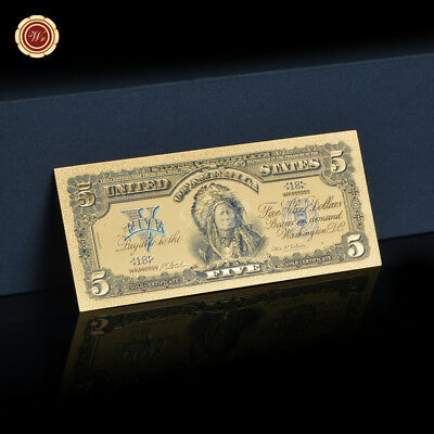 WR 1899 US $5 Dollar Chief Gold Banknote Colored Golden Money Bill For Christmas