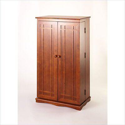 "Leslie Dame 40"" CD DVD Wall Media Storage Cabinet & Wood in Walnut"