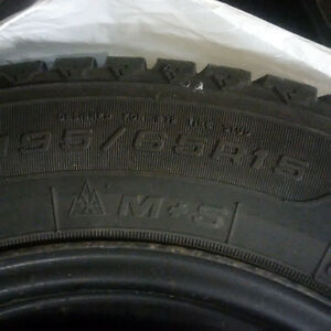 195/65R15 Goodyear Nordic Winter Tires on Rims - Set of 4