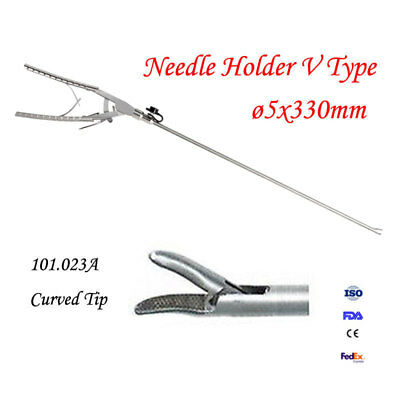 Great Needle Holder V Type 5x330mm Curved Tip Endoscopy Laparoscopic Instrument