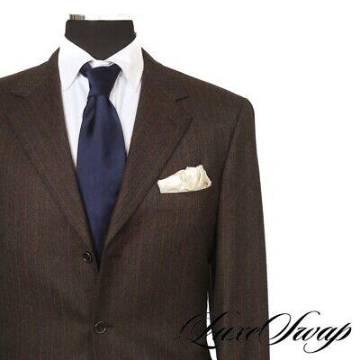 #1 MENSWEAR Brioni Made in Italy Nomentano Brown Flannel Orange Stripe Suit 00