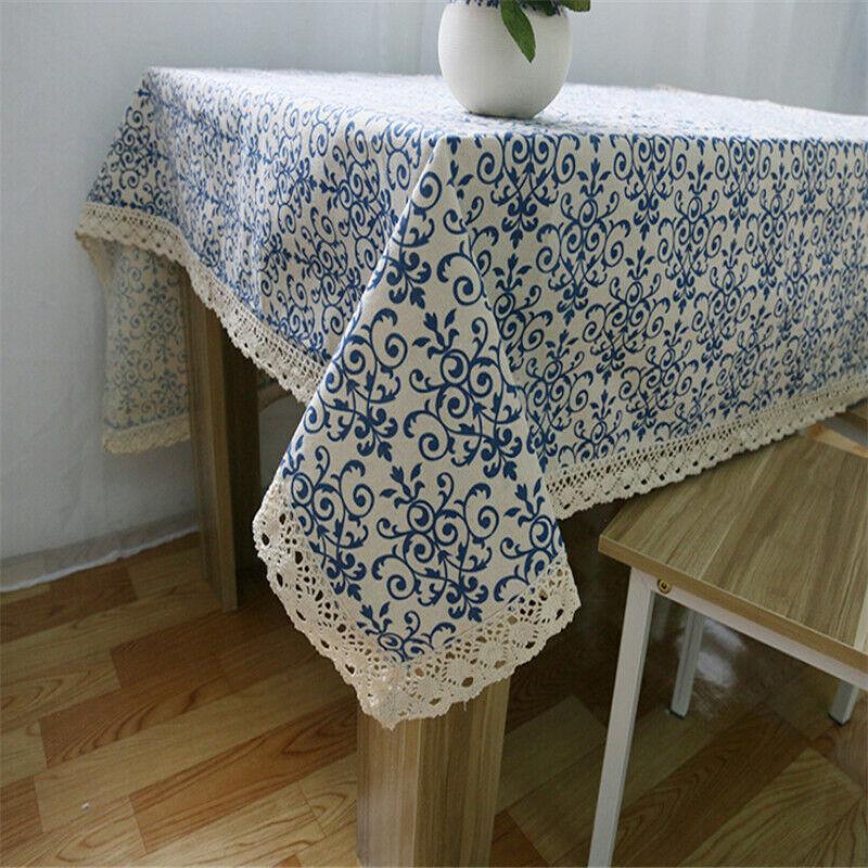 eBay & Details about Retro Home Decor Blue And White Porcelain Tablecloth Cotton Linen Table Cover