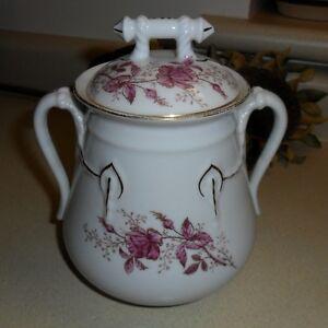 Antique Haviland Limoges Cable Shape Covered Sugar Bowl JAR