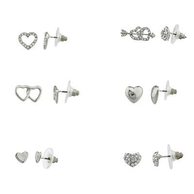 Lux Accessories Pave Crystal Valentine Heart Bow & Arrow Multiple Stud Earring -