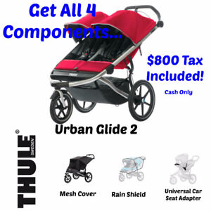Thule Urban Glide 2 Double Stroller with all the Accessories