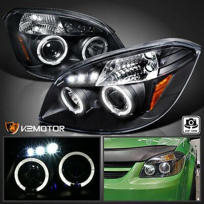 2005-2010 Chevy Cobalt 2007-2009 Pontiac G5 LED DRL Projector Headlights Black