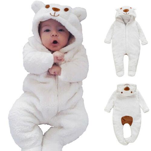Newborn Baby Boy Girl Kids Bear Hooded Romper Jumpsuit Bodys