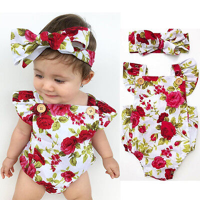 Flower Girl Clothes (Newborn Baby Girl Clothes Flower Jumpsuit Romper Bodysuit  + Headband Outfits)
