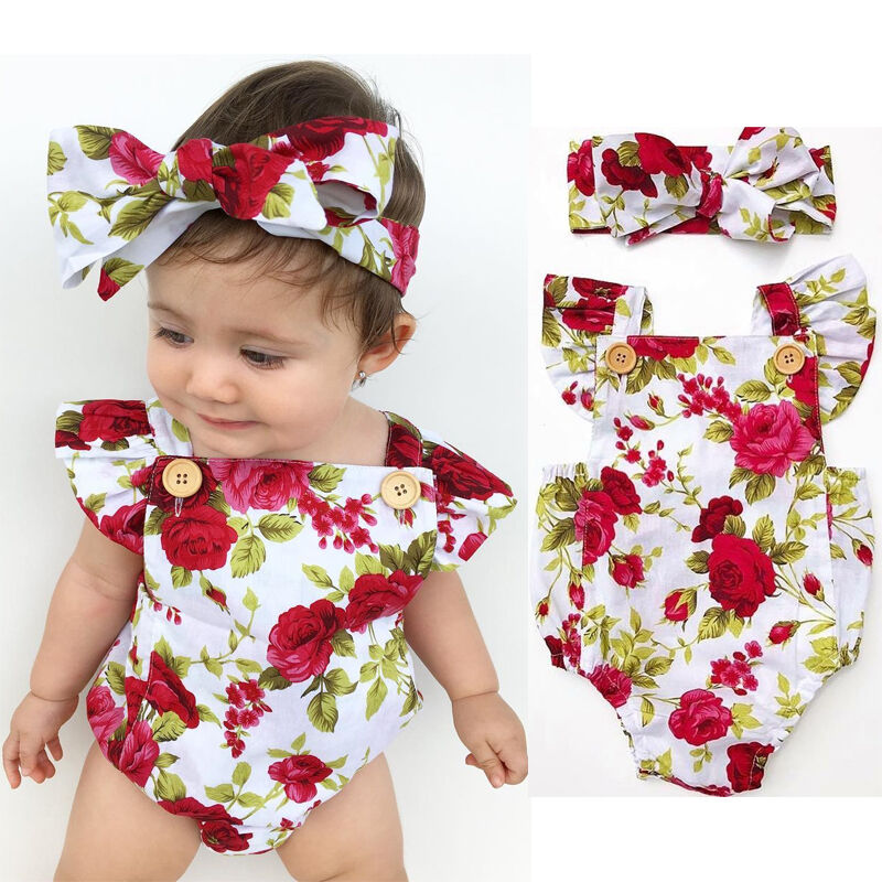 Newborn Baby Girl Clothes Flower Jumpsuit Romper Bodysuit  Headband Outfit Set z
