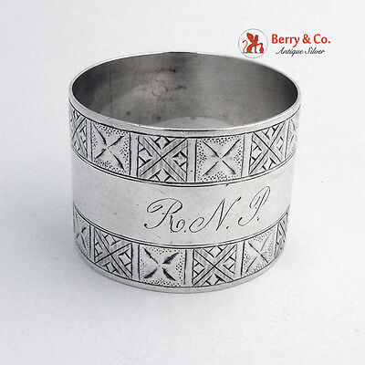 Early Arts and Crafts Napkin Ring 1885 Sterling Silver Monogram RNP