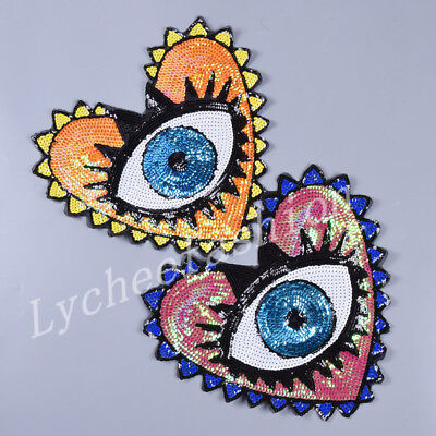 Large Sequin Heart Evil Eyes Patch Cartoon Motif Embroidered Applique Badge 1pc - Heart Eye Patch