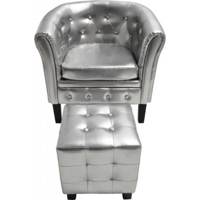 Faux Leather Chesterfield Armchair w Ottoman Silver new ...
