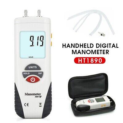 Ht1890 Handheld Digital Manometer Differential Gauge Air Pressure Meter 11units